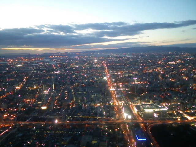 ハルカス300ヘリポートからの夕陽♪